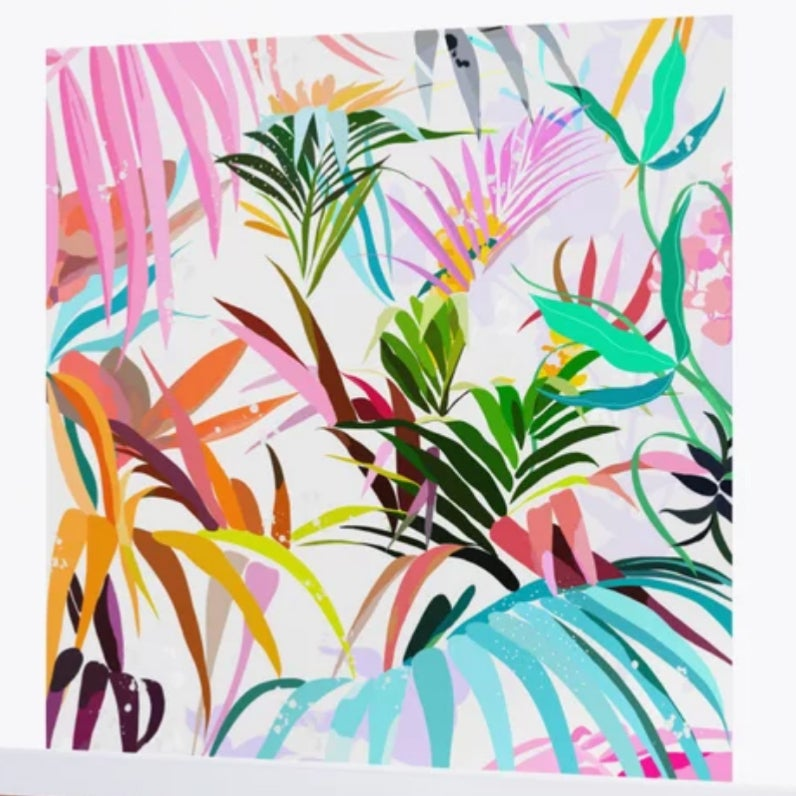 wall mural brightly colored palm fronds