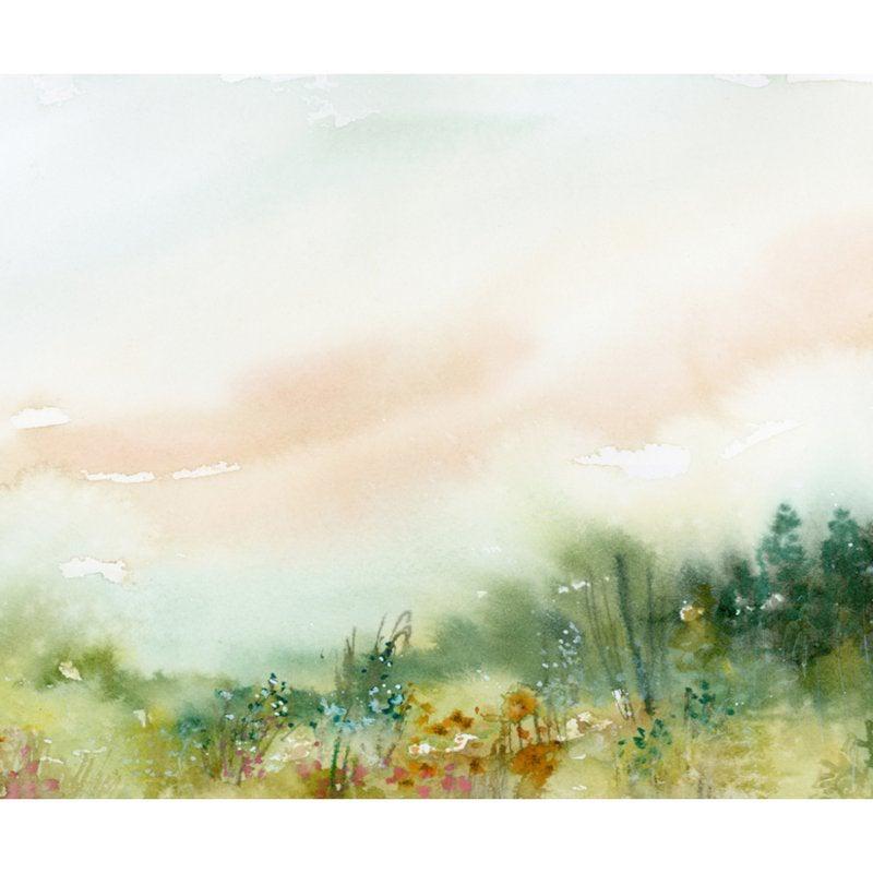 wall mural depicting watercolor meadowland