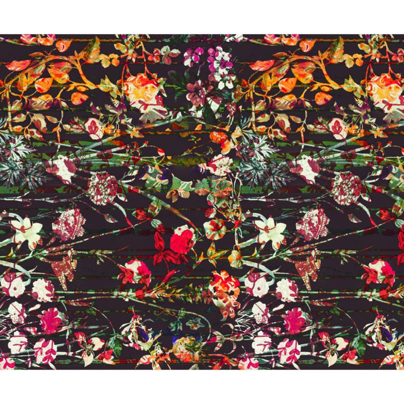 all over floral pattern with a black background and brightly colored flowers