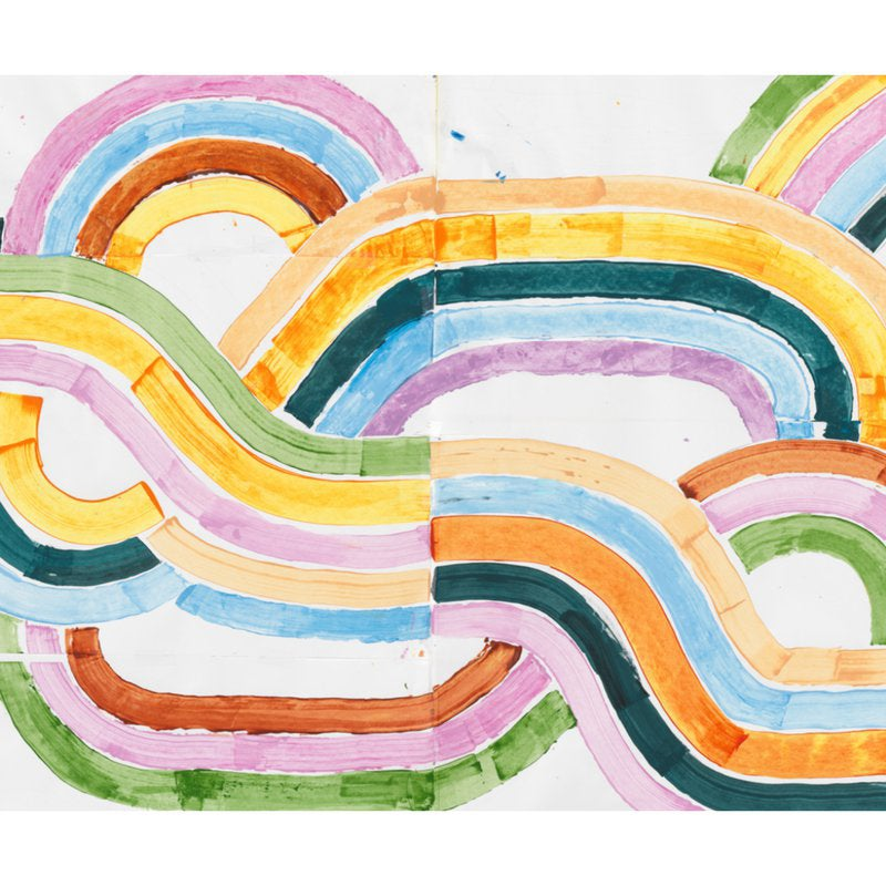 wall mural with brightly colored stripes