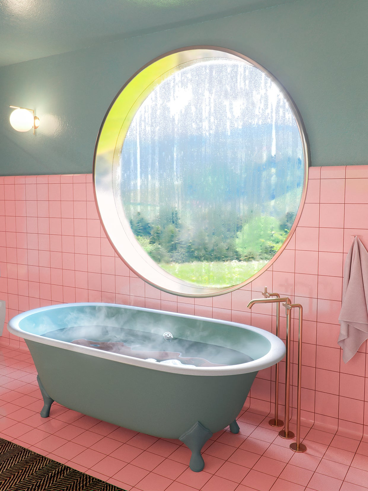 pink and green bathroom with a round window over the tub
