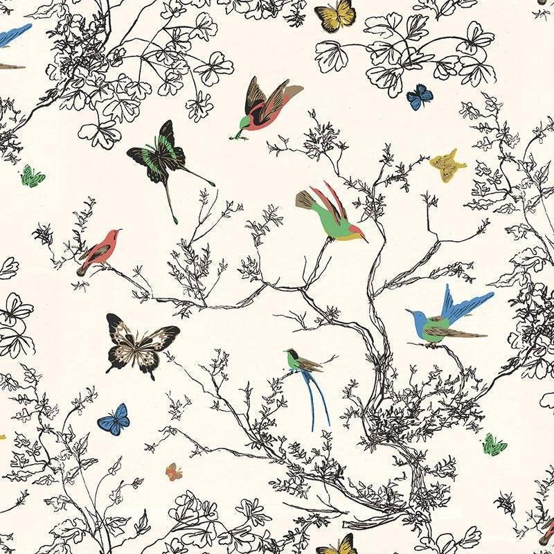 Schumacher Birds & Butterflies Luxe Wallpaper