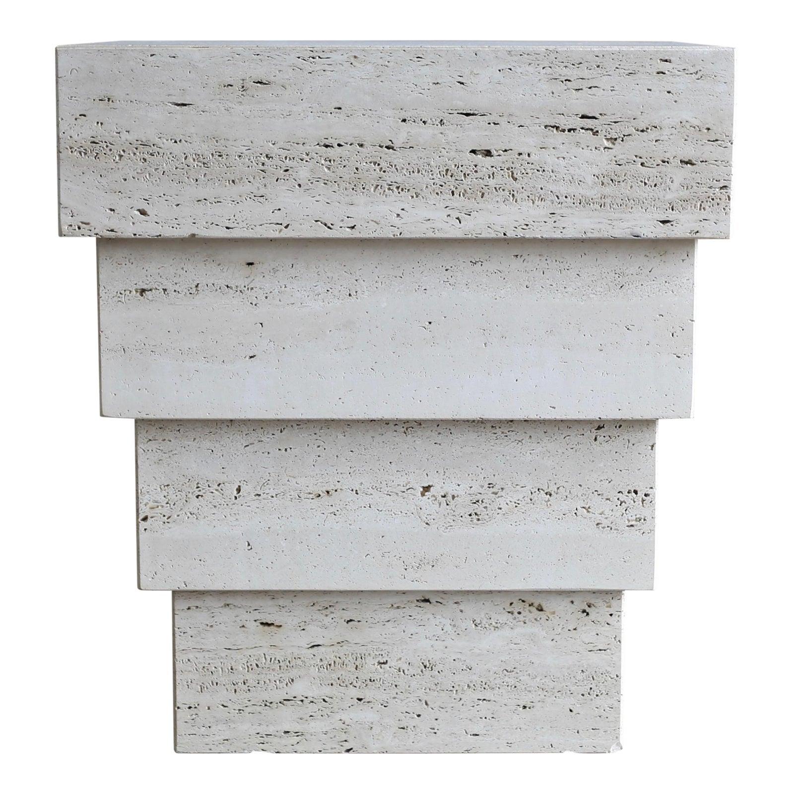 Sculptural Modernist Travertine Pedestal