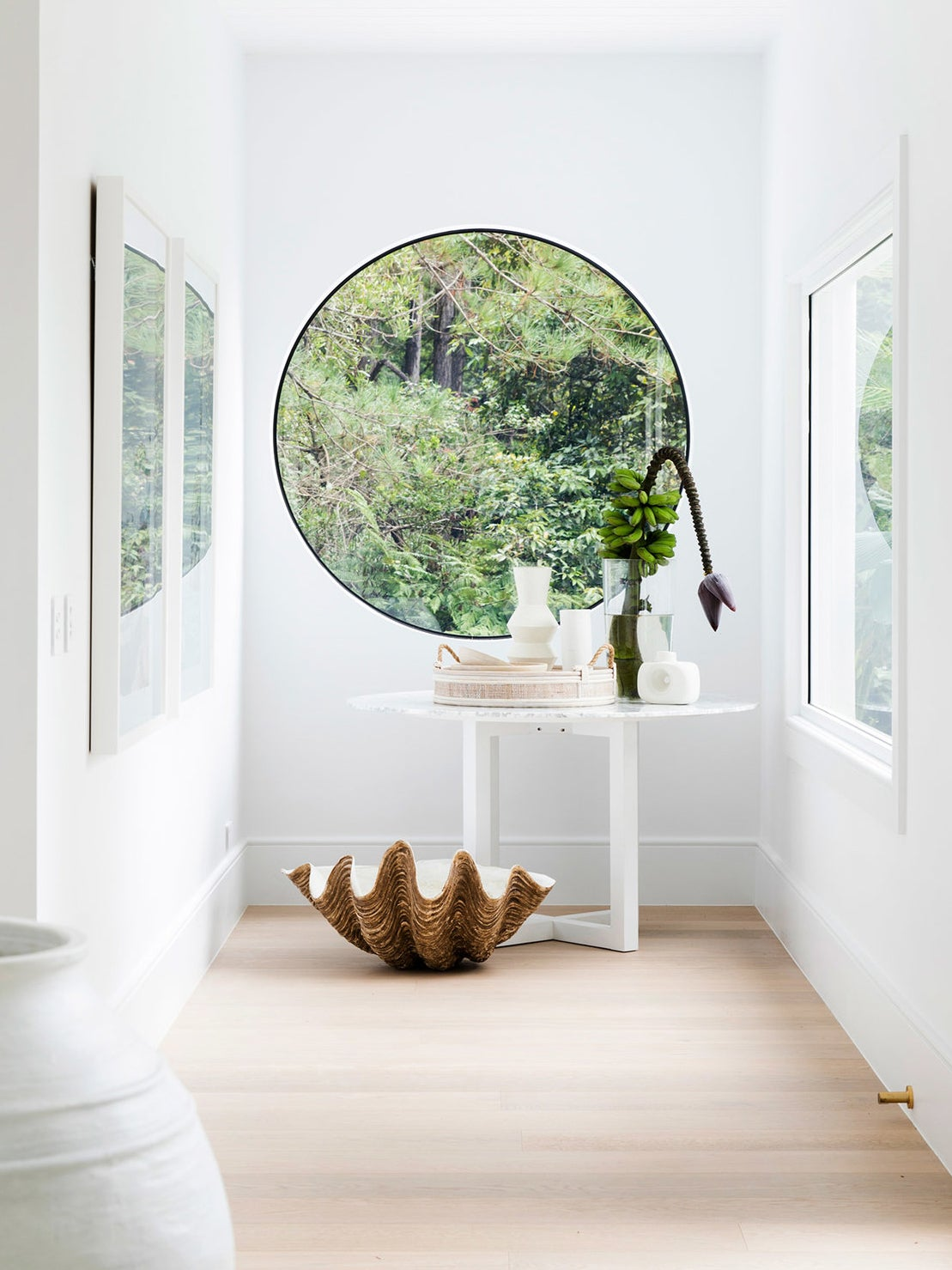 large round window at the end of the entryway