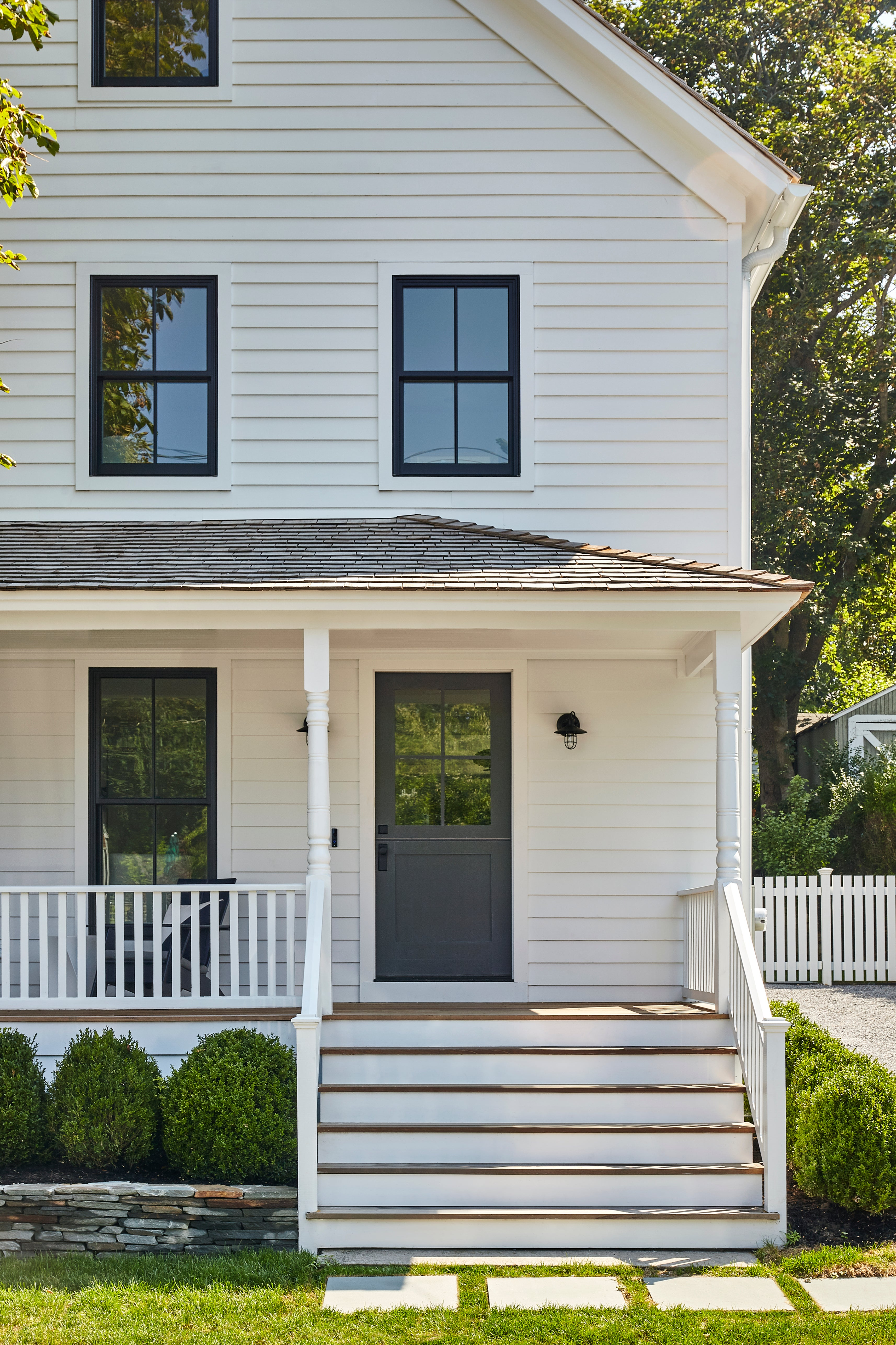 White home exterior.