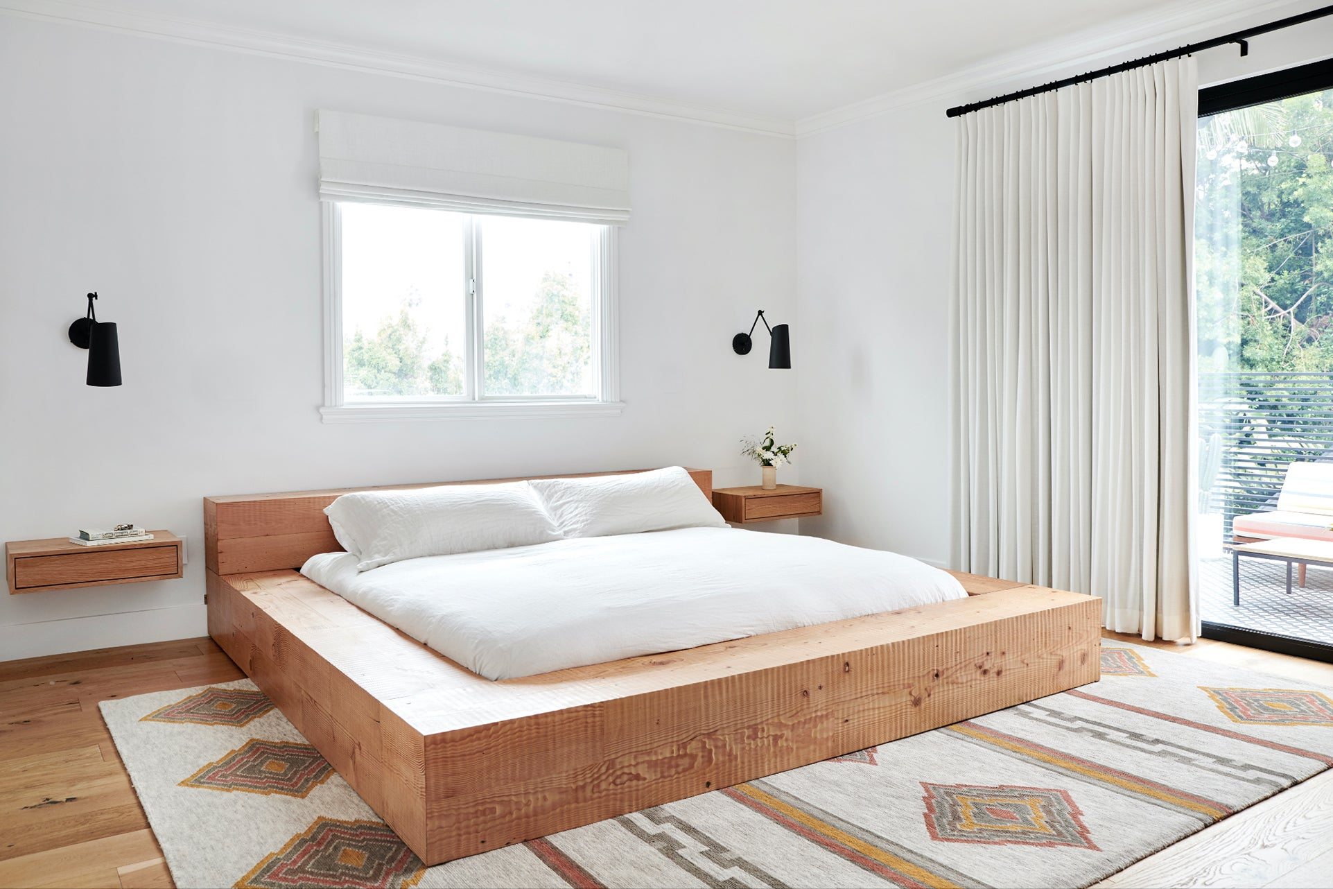 low sittign wood platform bed