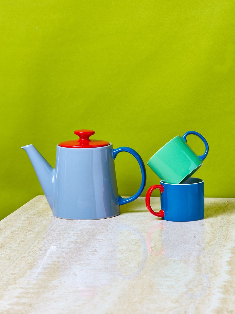 blue and red teapot