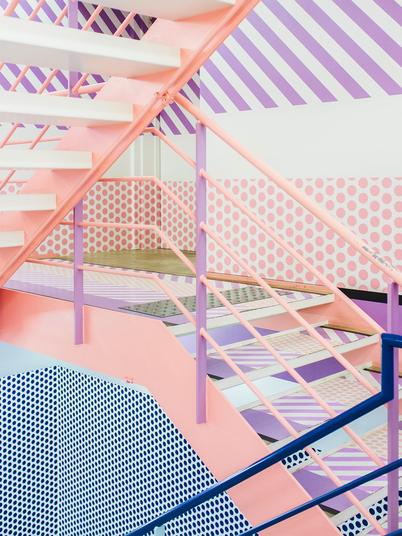 pink,blue, and purple stairwell