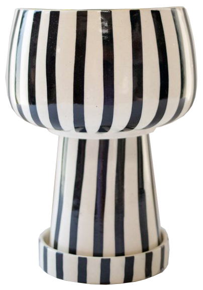 black and white striped planter
