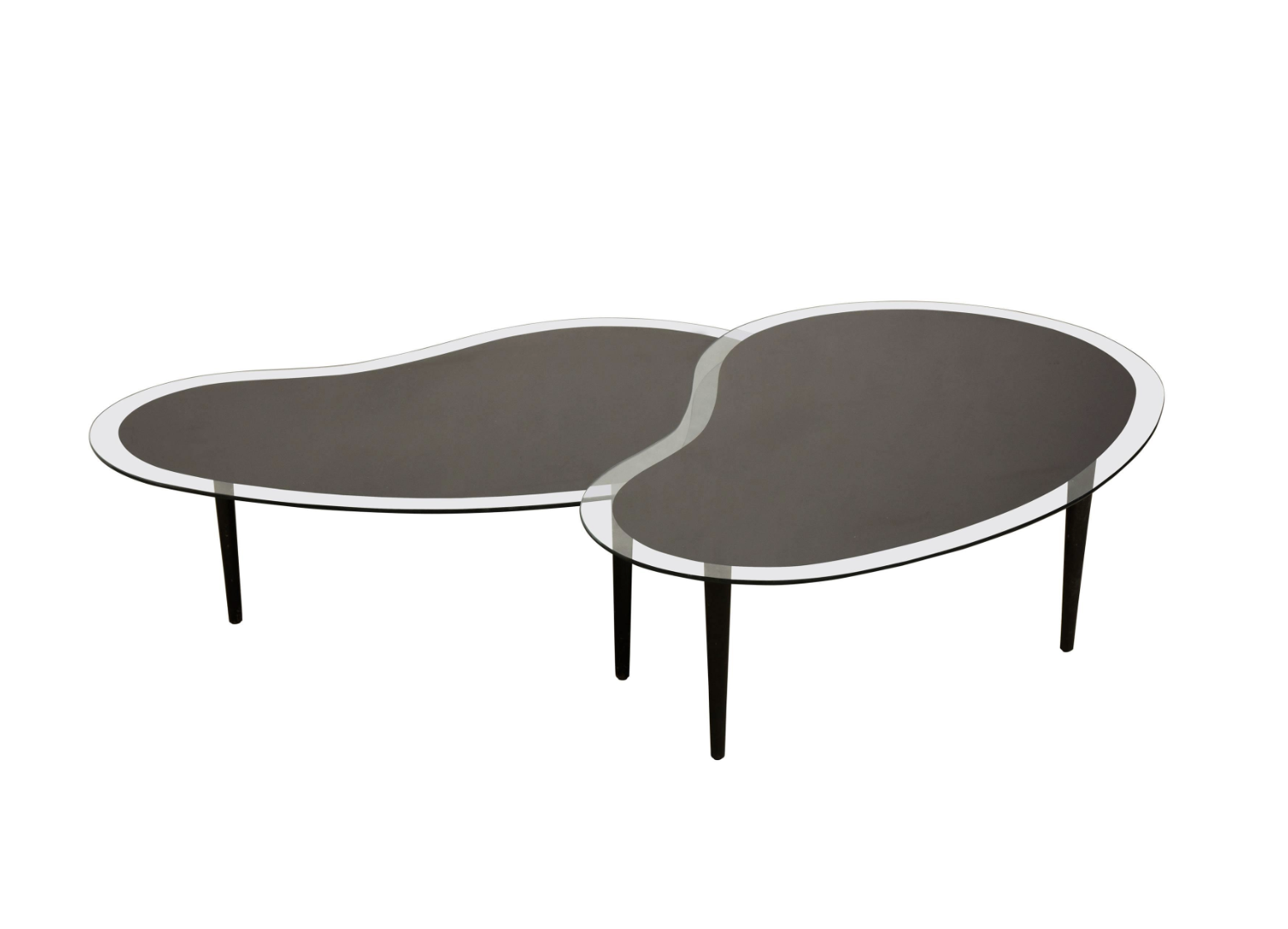 Nesting Kidney, Boomerang Glass Top Coffee Tables