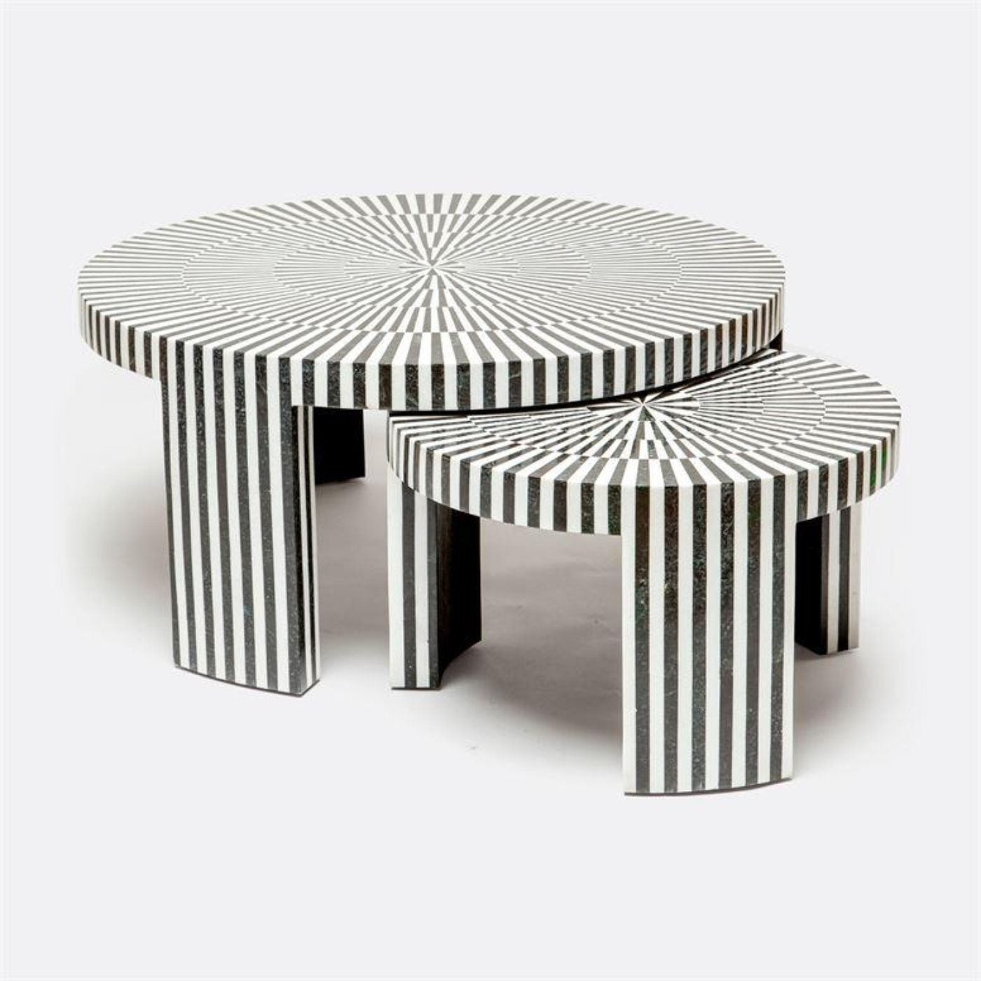 Striped Stone Nesting Cocktail Tables