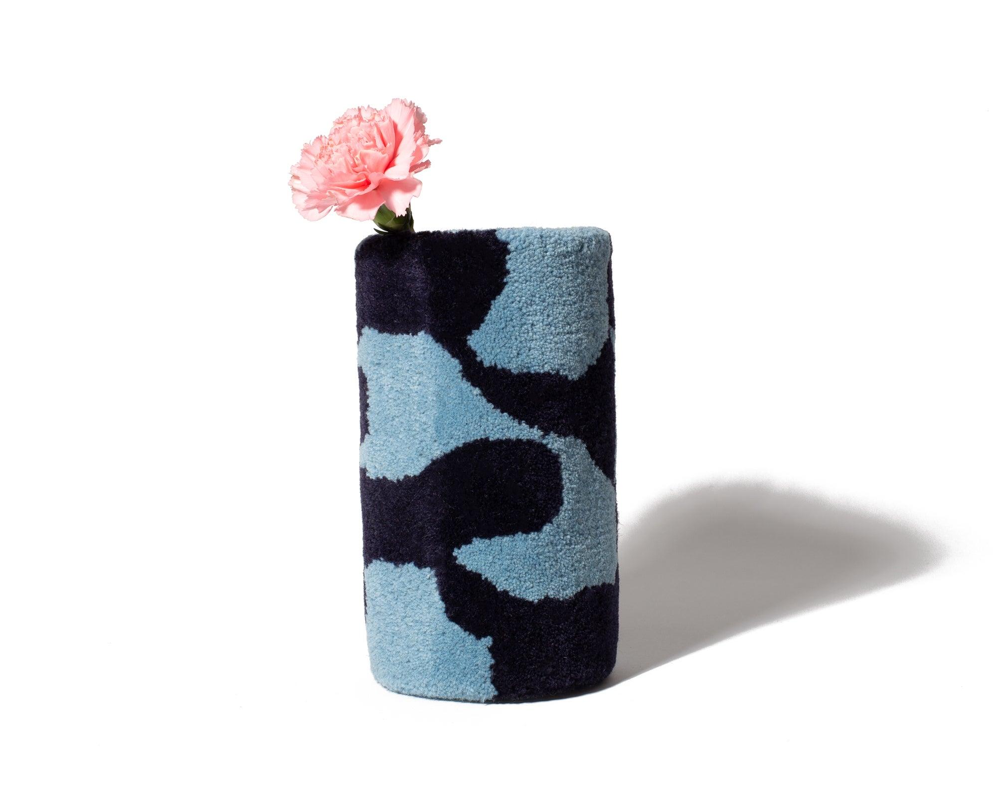 blue and black fury vase
