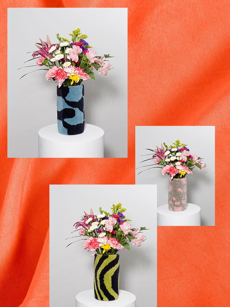 three images of furry vases on an orange background