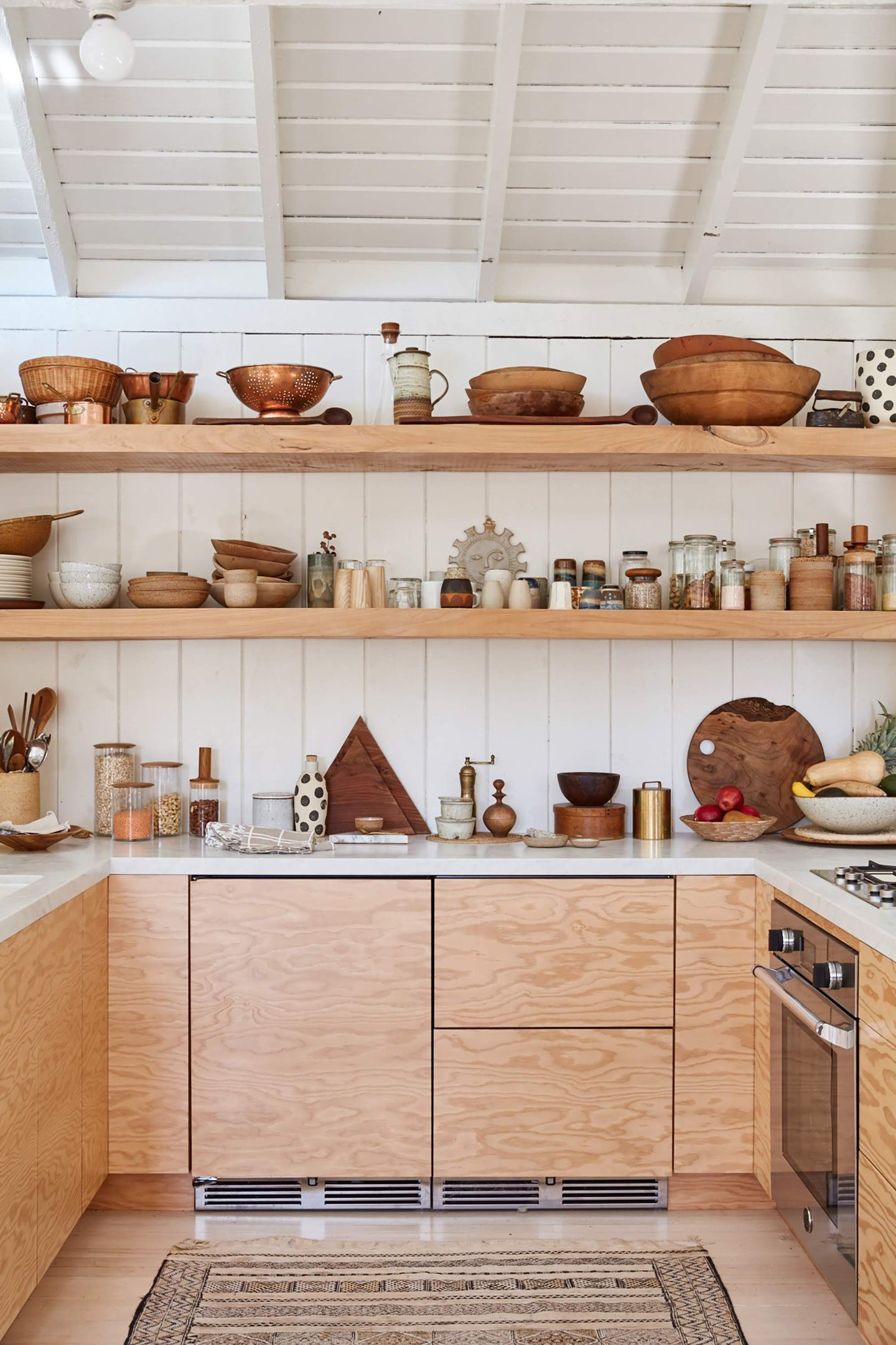 plywood kitchen with open wood shelves