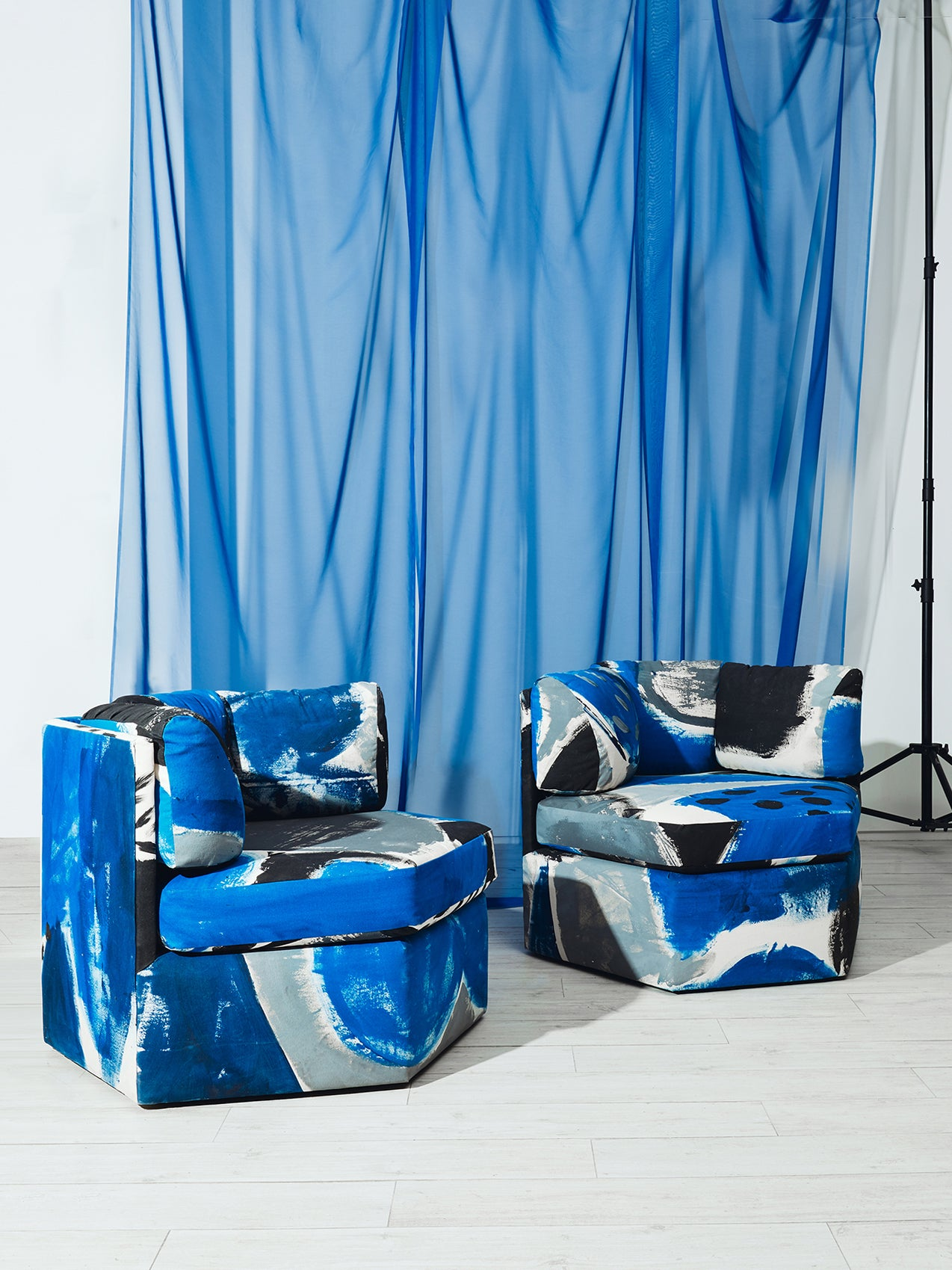 Clarke Fabric Sectional Sofa Living Room: All You Need Is Some Fabric Paint To DIY This Bold, Blue Sofa