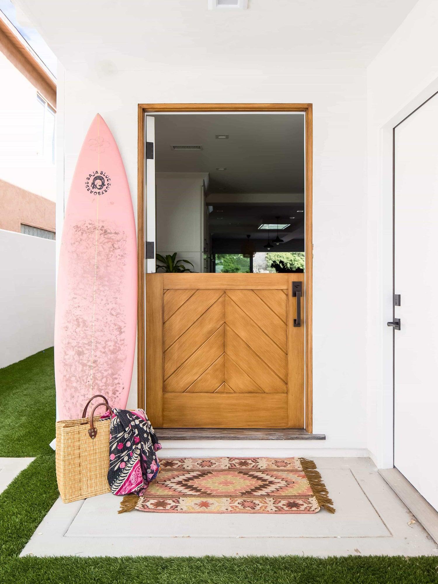 solid wood front door with chevron pattern