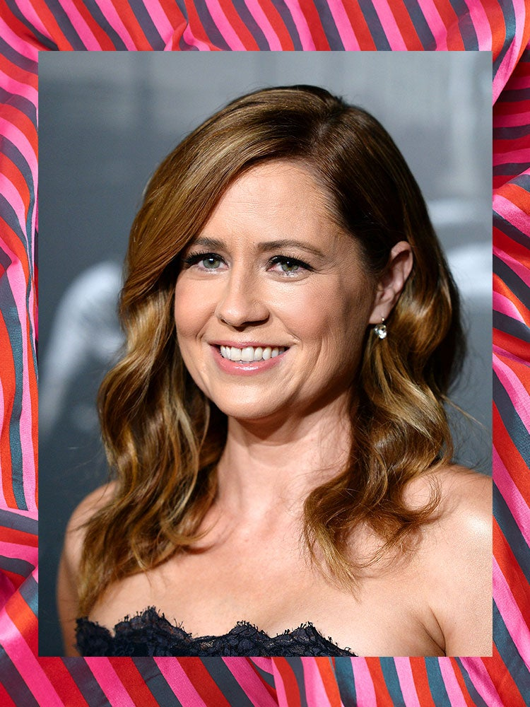 portrait of jenna fischer on a graphic backdrop