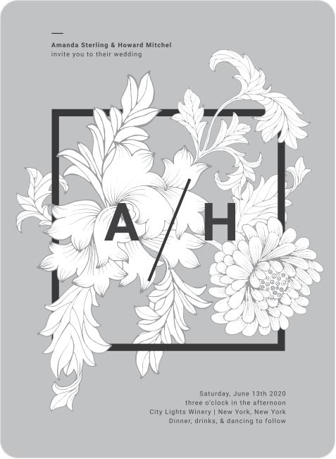 grey and graphic white flowers wedding invitation