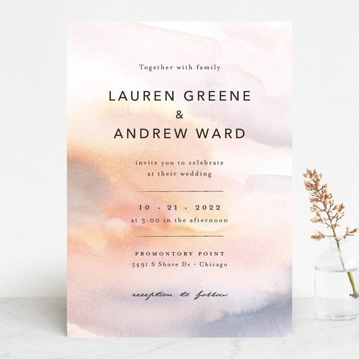 blurry watercolor wedding invite