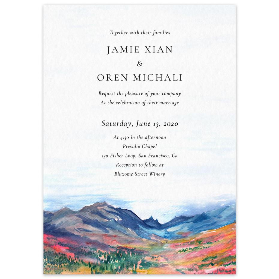 wedding invitation with mountains