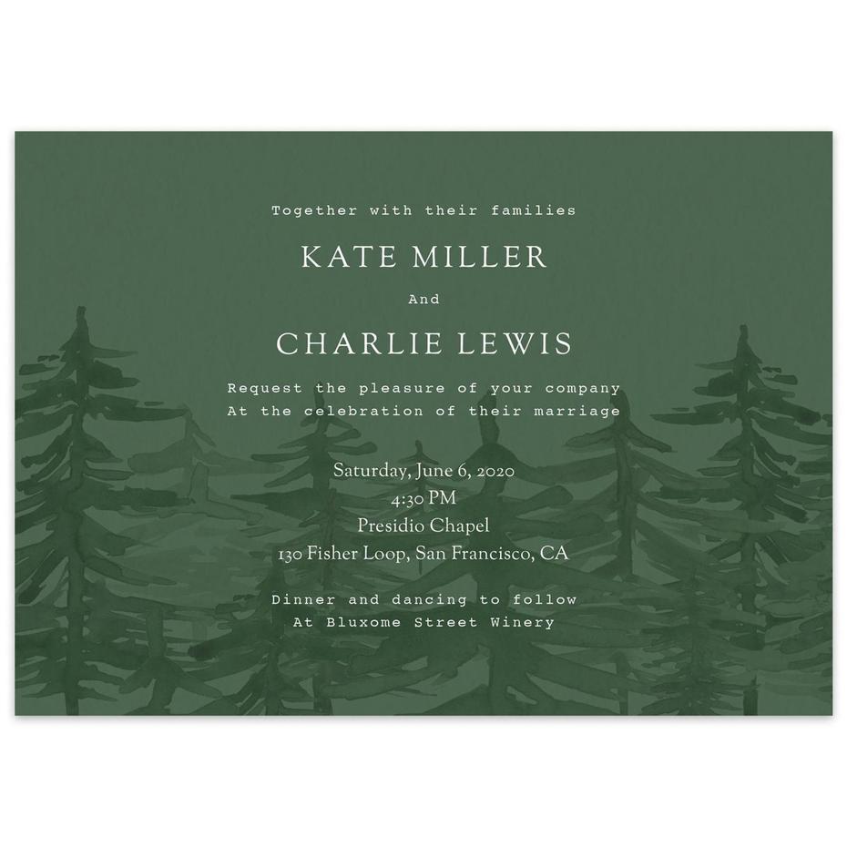 green forest wedding invitation