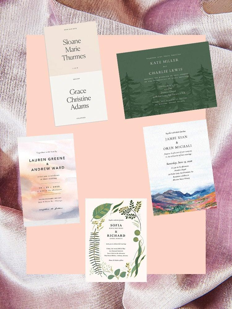 collage of wedding invitations