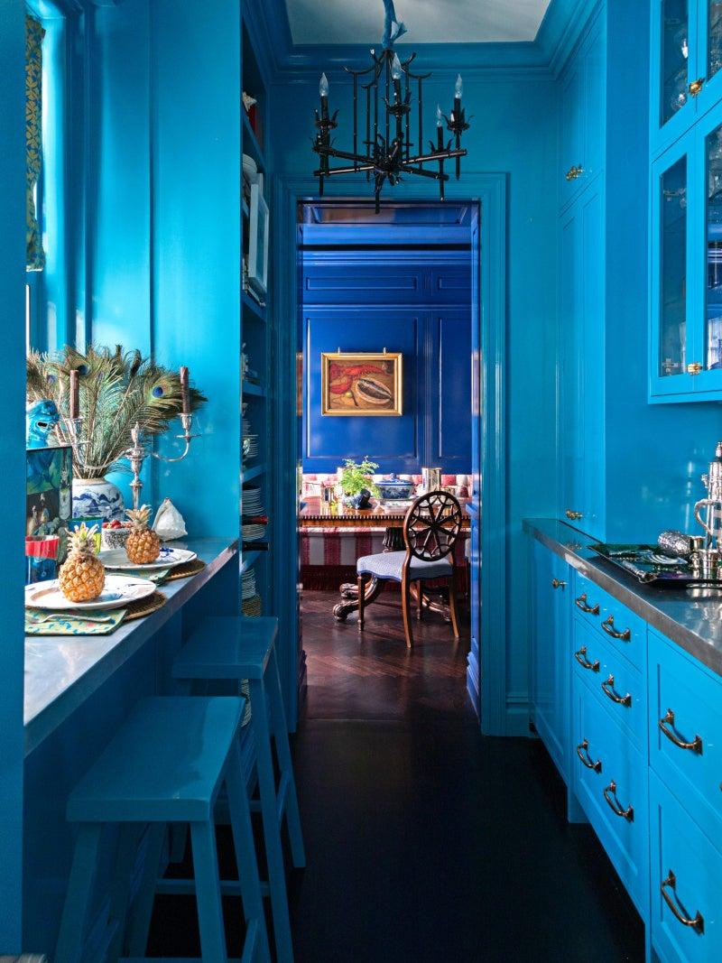 bright blue lacquer hallway