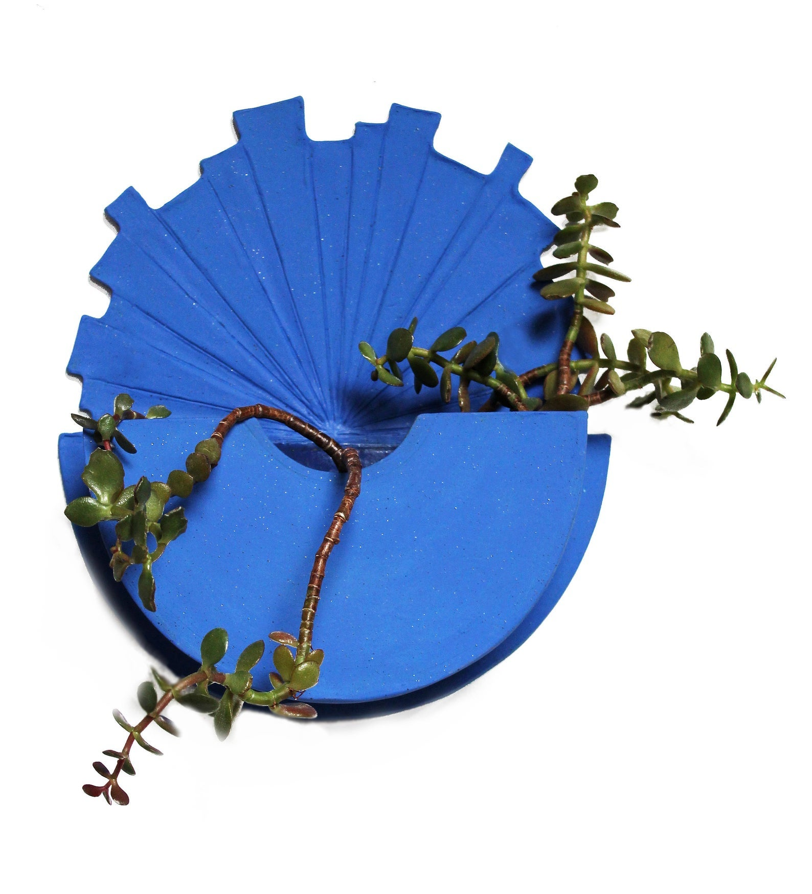 Wall Vessel Sculpture no.029 – Ceramic Planter in Electric Blue