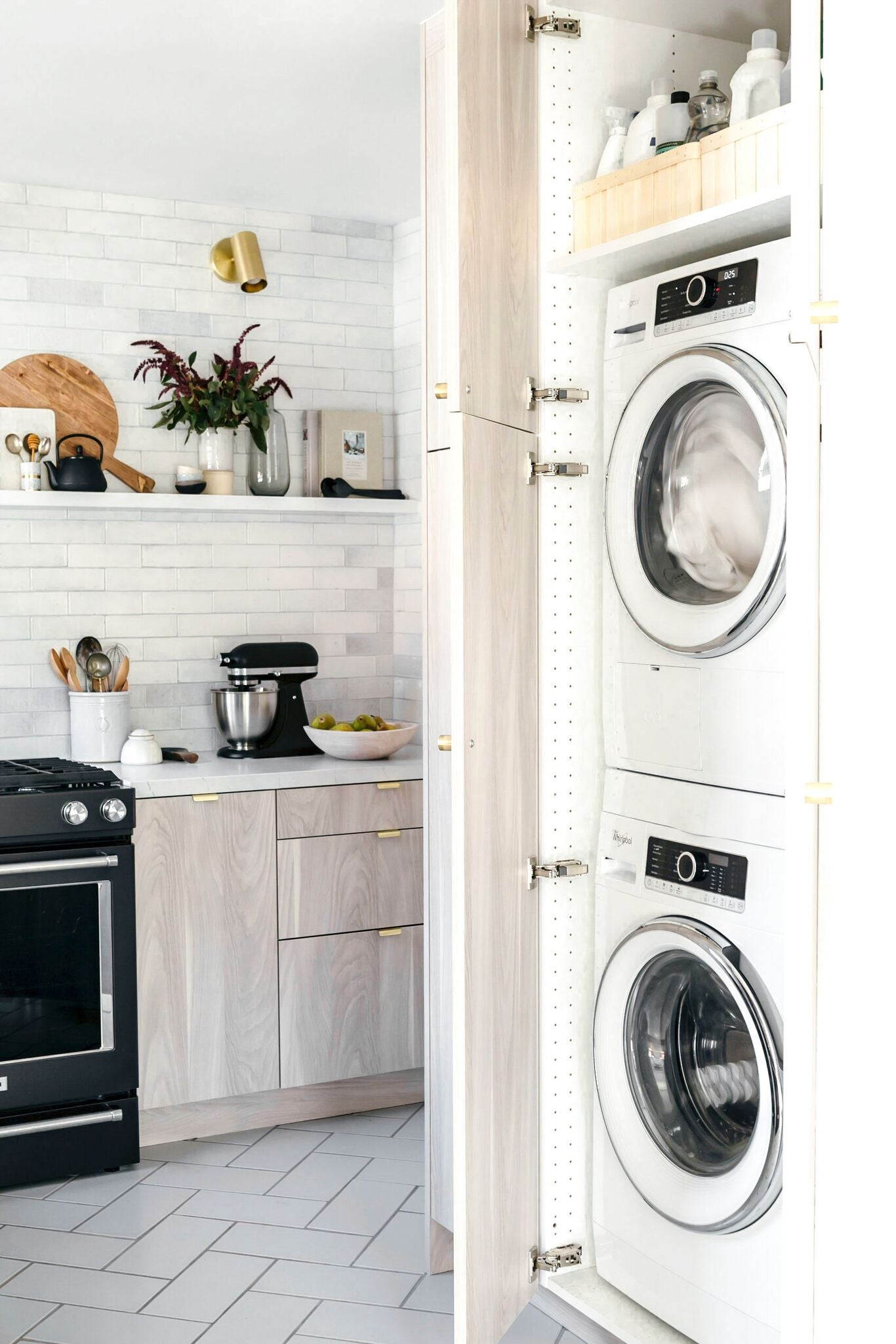 laundry closet in a kitchen