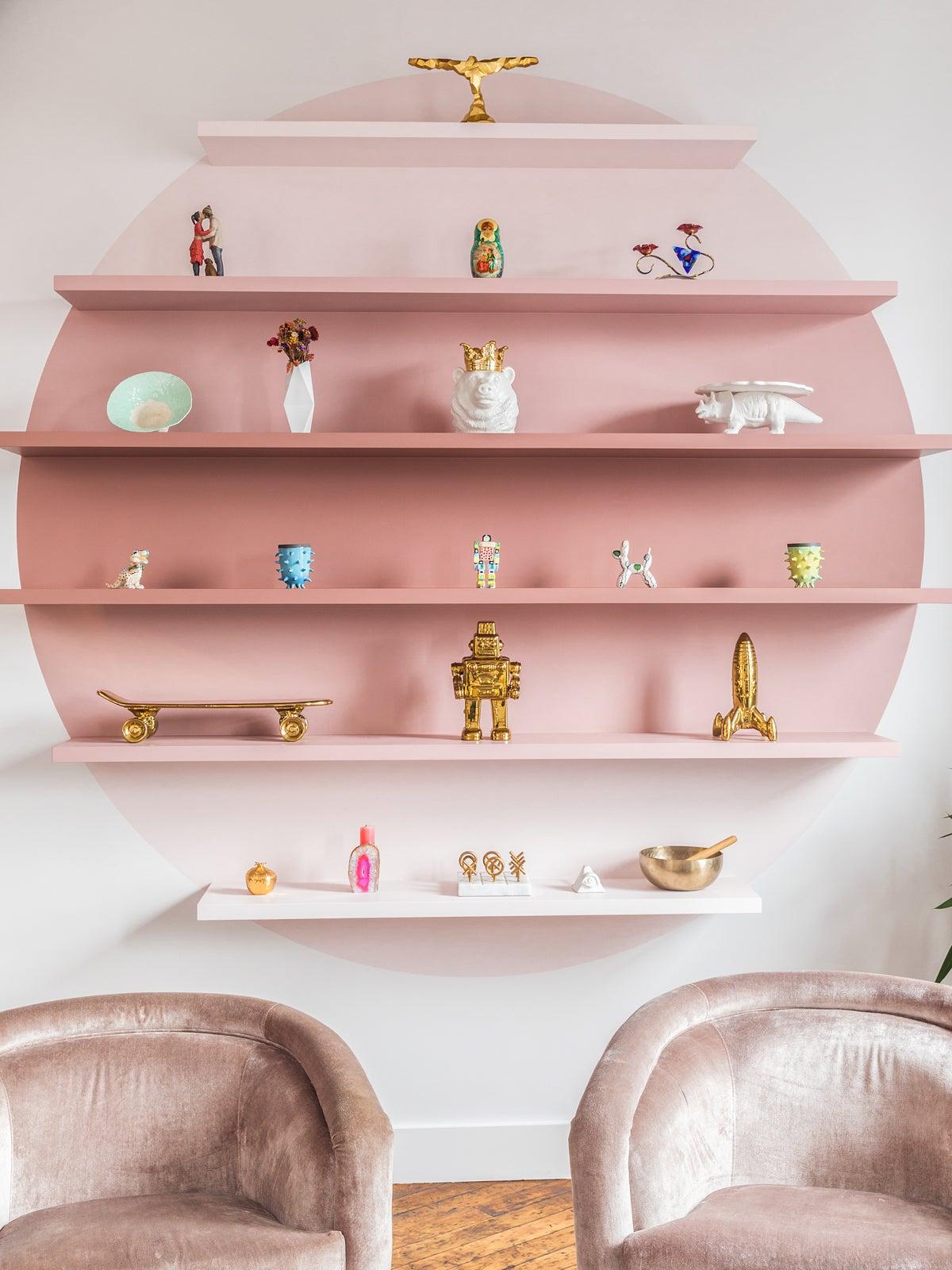 gradient pink wall shelf