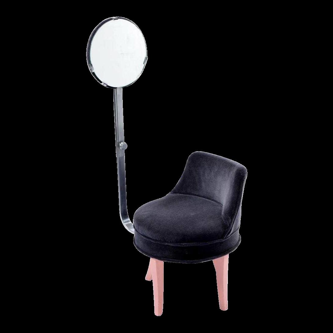 1940s Vintage Reflectone Corp Vanity Revolving Mirror Chair