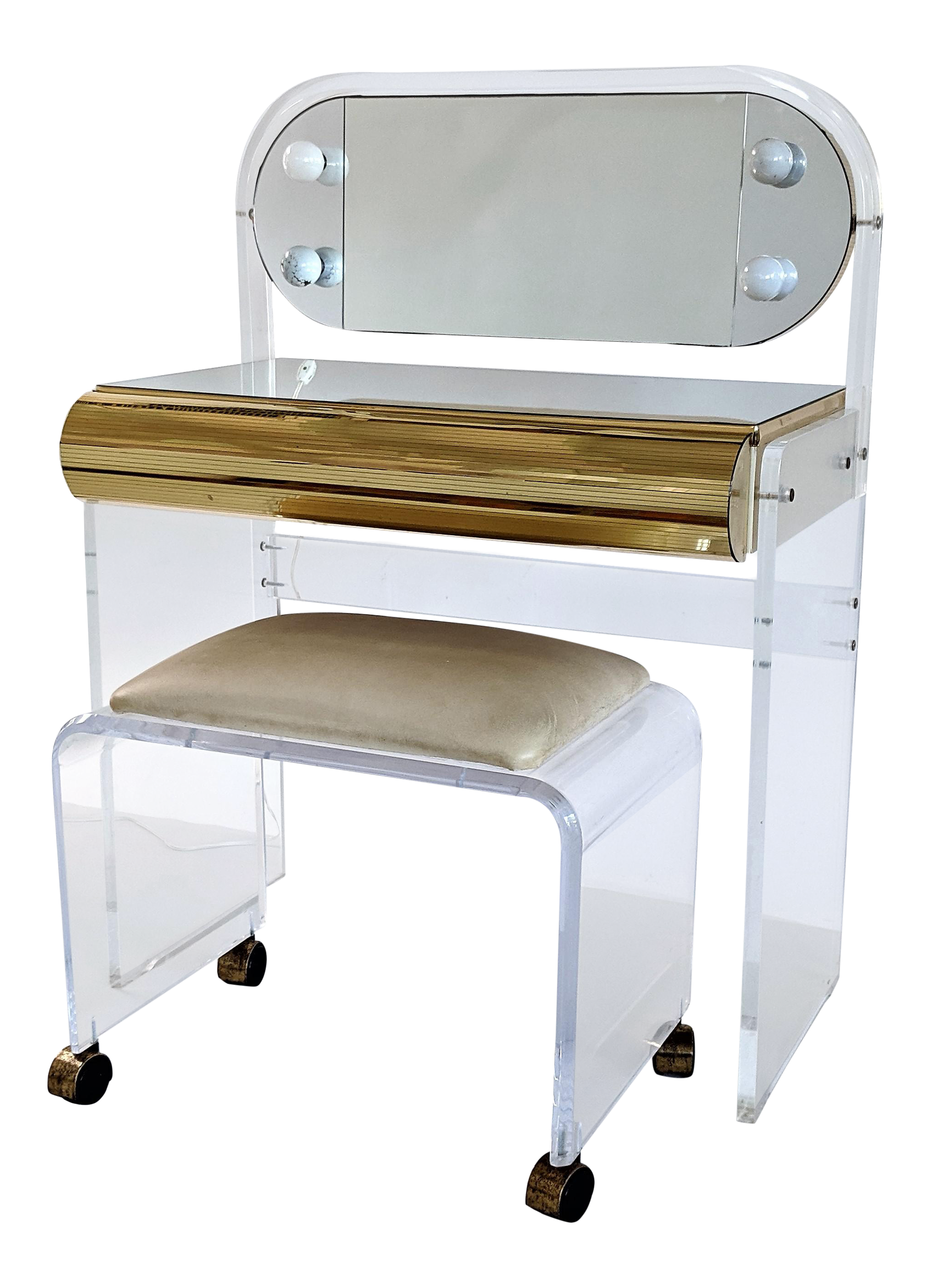1970s Mid Century Modern Lucite Lighted Vanity With Stool