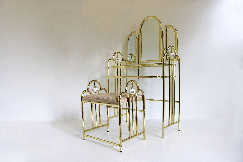midcentury hollywood regency golden layer dressing table