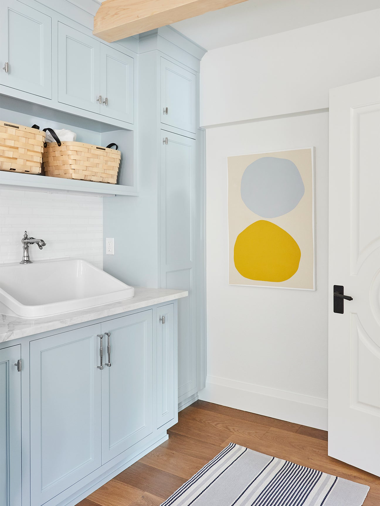baby blue laundry room cabinets