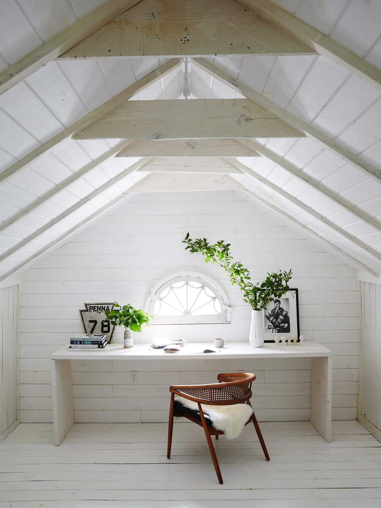 whitewashed attic office