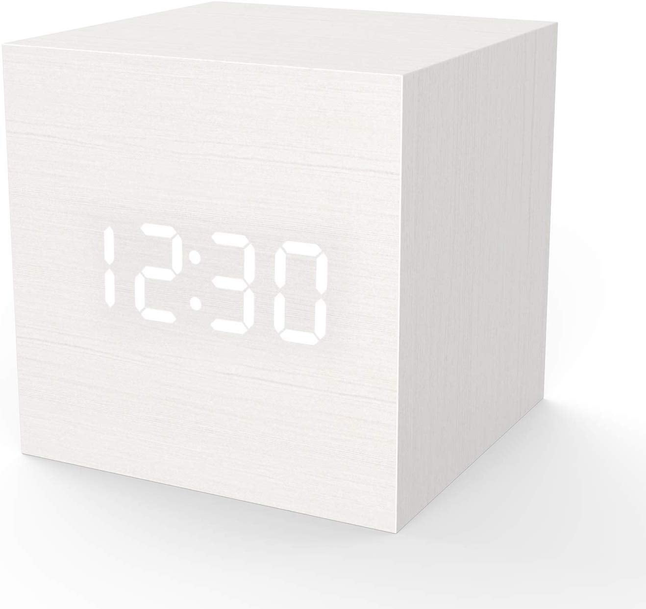 Wooden Digital Alarm Clock Cube