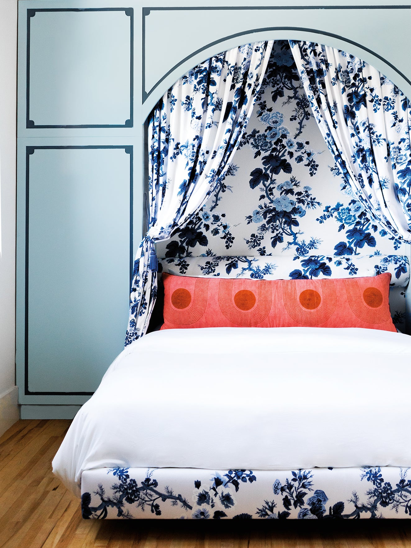 blue floral toile canopy