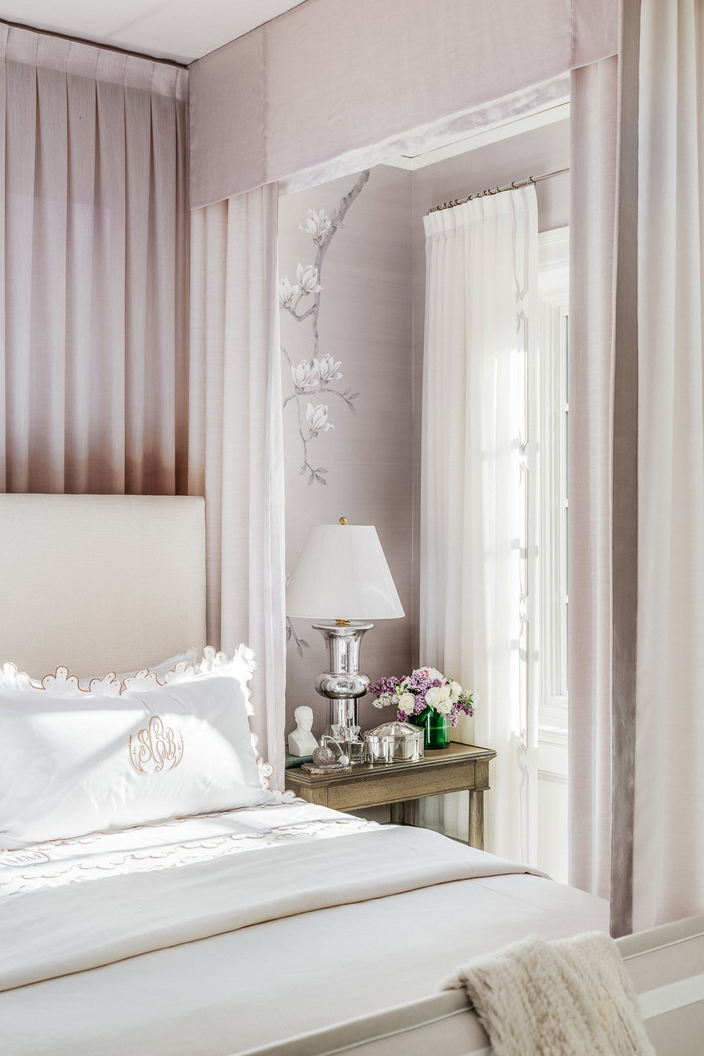 lilac four poster bed