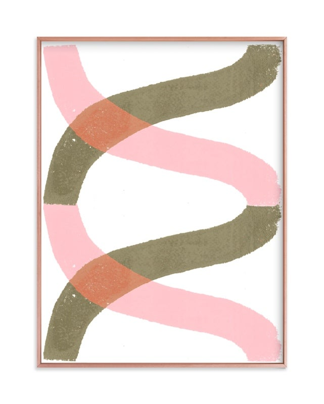 green and pink helix abstract print