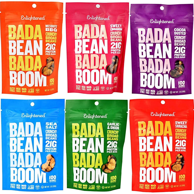 6 pack of colorful fava bean crisp bags