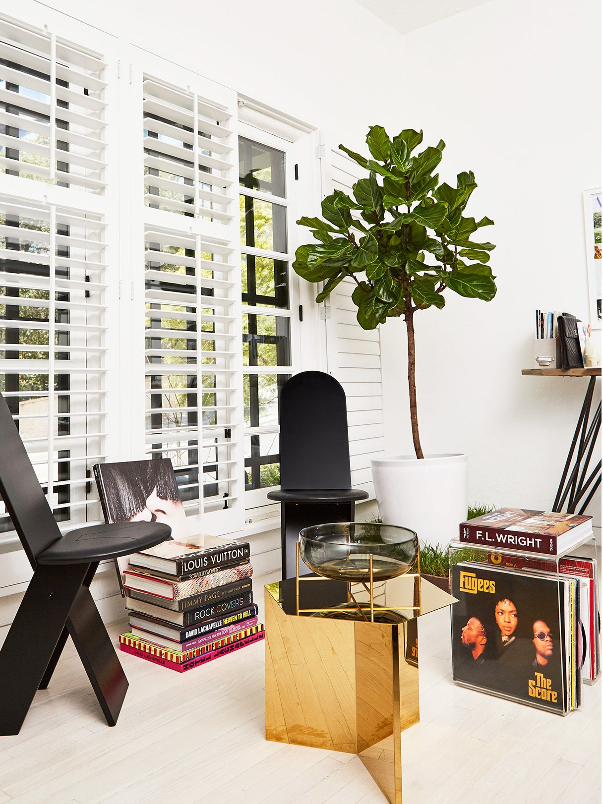 living room with white shutters and records stored in tables