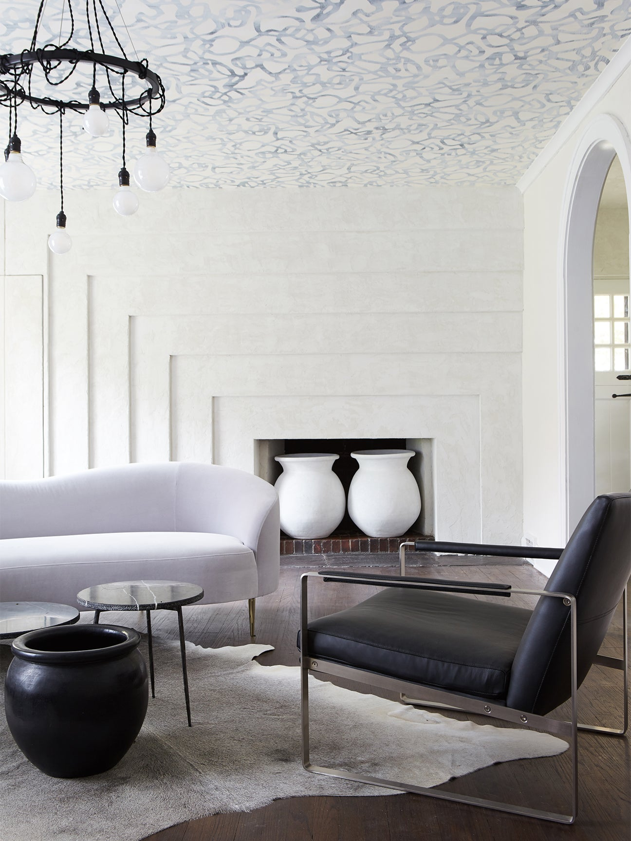 gray and white glam living room
