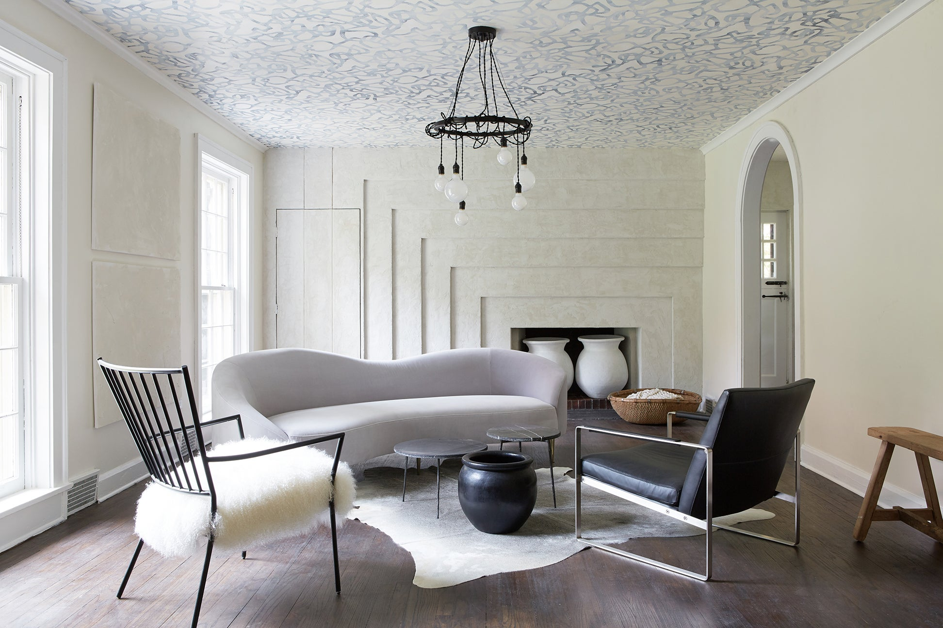 curved gray sofa living room