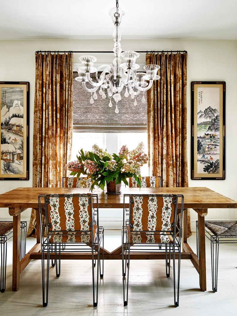 dining room with brown and white upholstered chairs