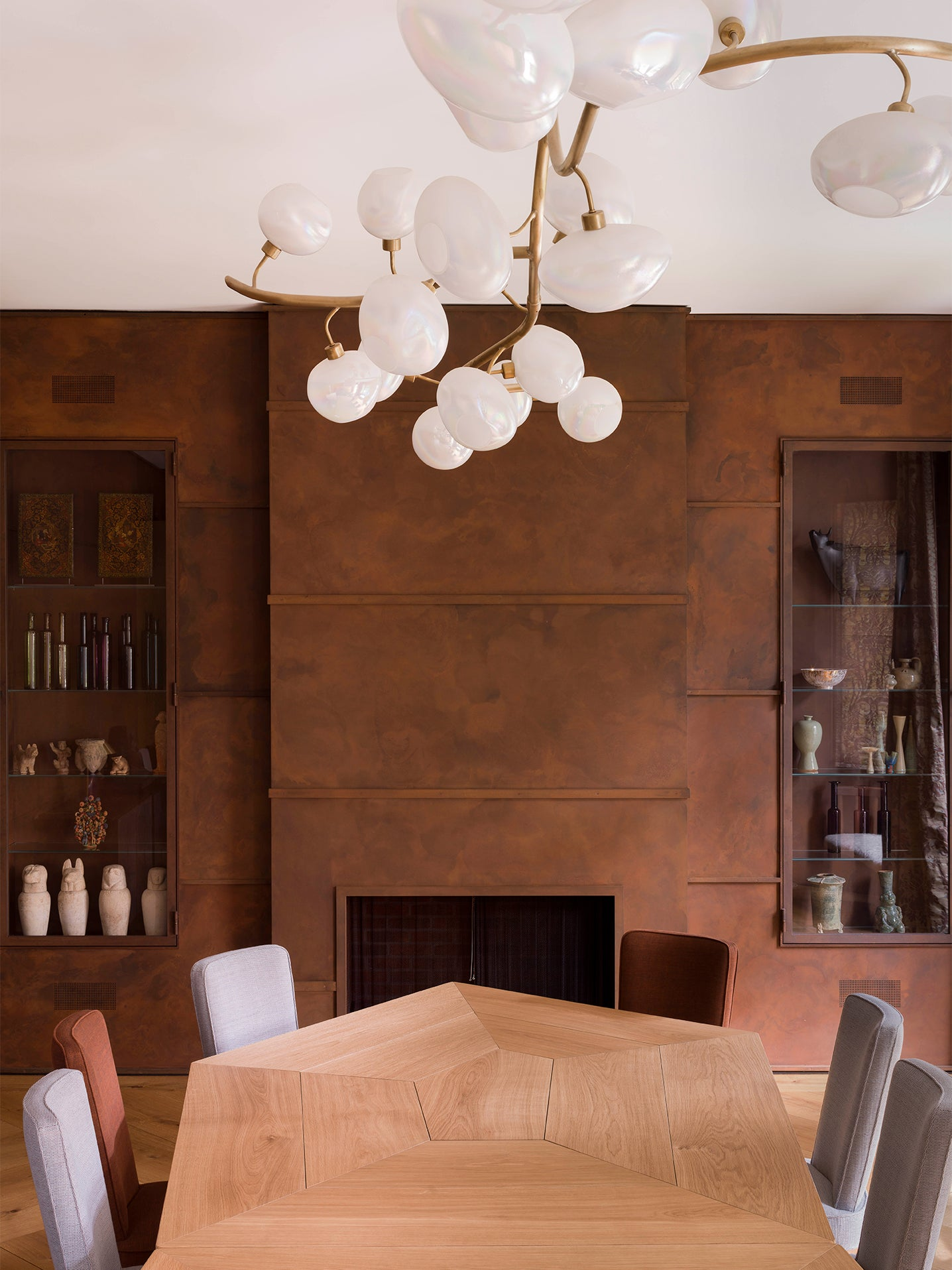brown steel patinad walls in a dining room