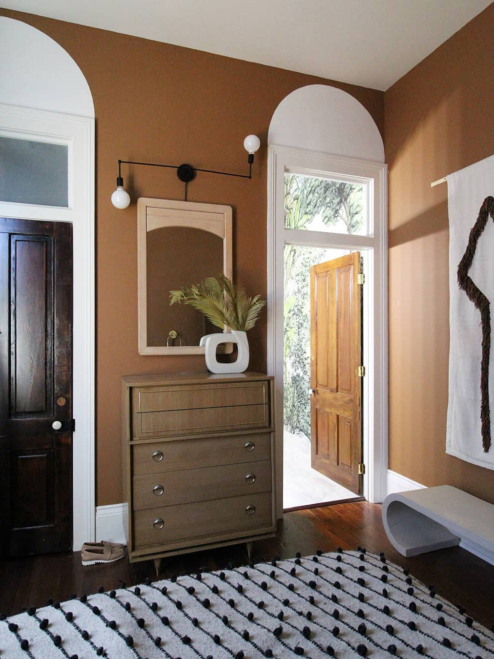 brown walls in an entryway