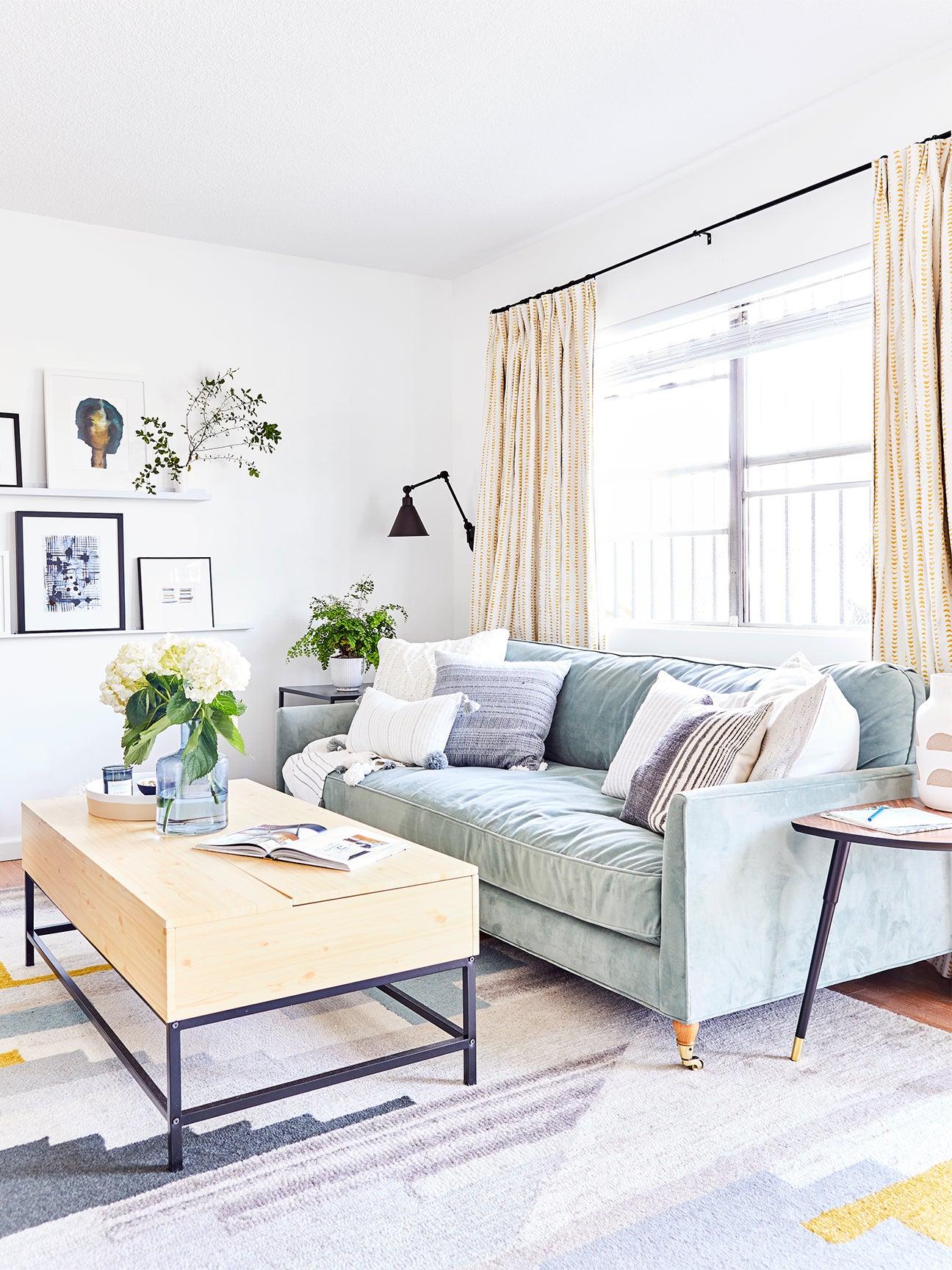 Cool-toned living room