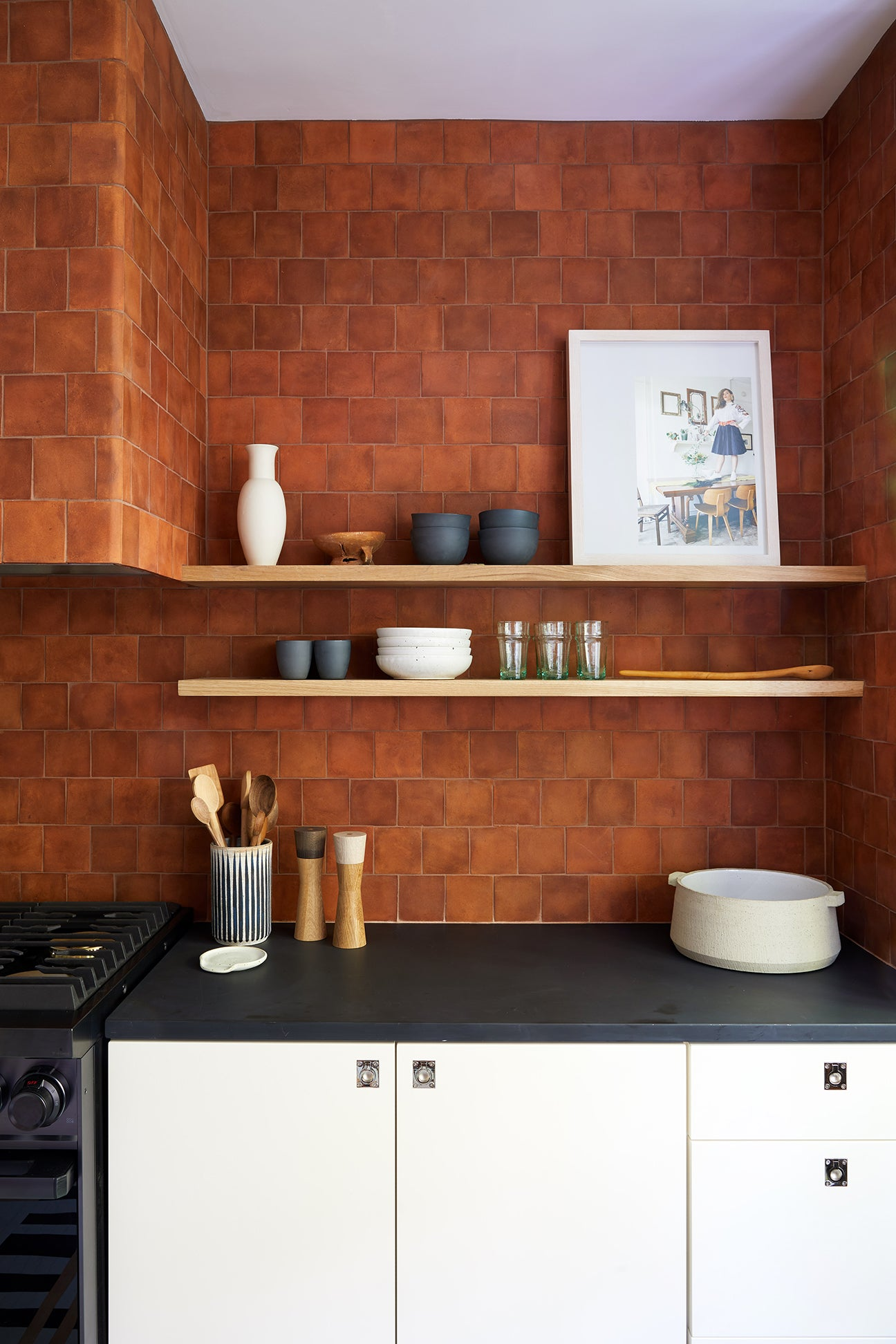Modern Kitchen With Terra Cotta Tile