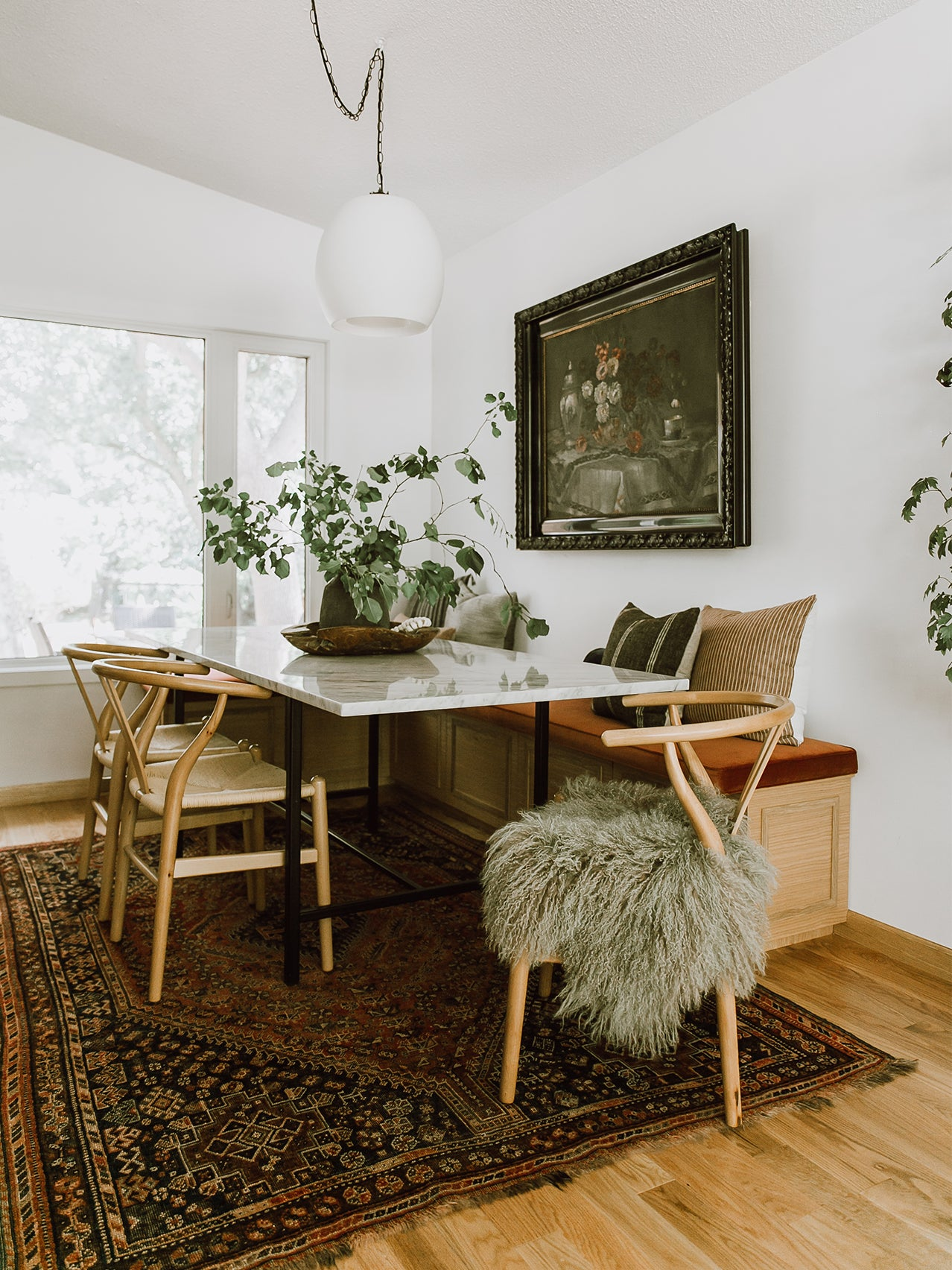 cozy dining area with built in bench