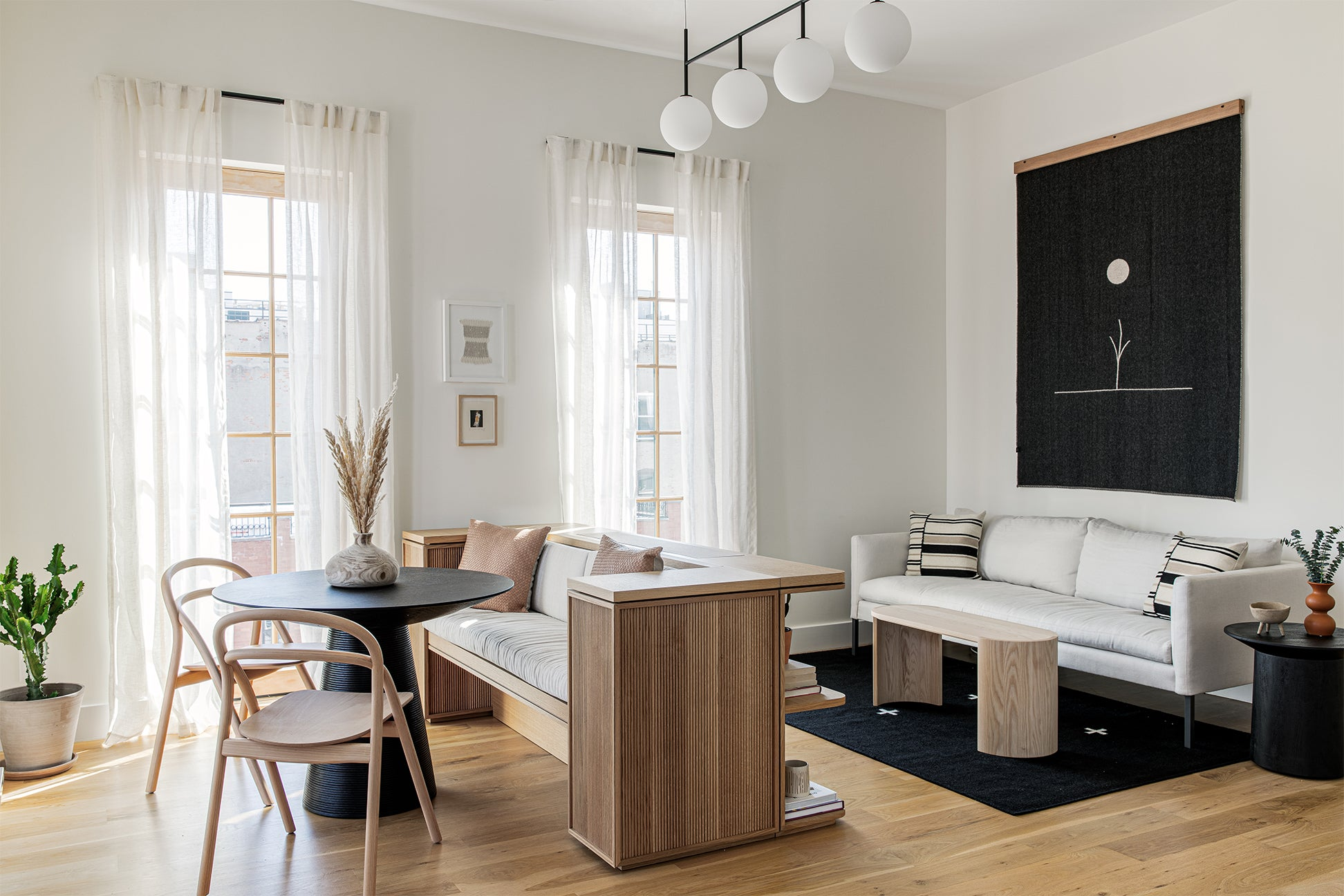 Dining Banquette and TV Bench in Small Apartment